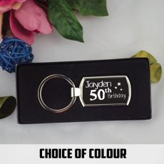 50th Birthday Keyring Gift - Personalised