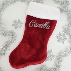 Personalised  Christmas Stocking 58cm Plush Red