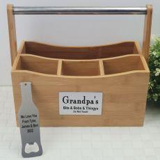 Grandpa Bamboo 4 Section BBQ Caddy Organiser & Bottle Opener
