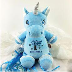 Personalised Birthday Blue Cubbie Unicorn Plush