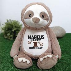 Personalised Birthday Sloth Cubbie Plush