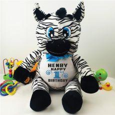 Personalised 1st Birthday Zebra Plush - Zoey