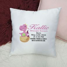 Personalised Cushion Cover Dinosaur Pink