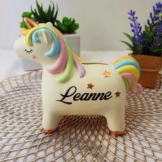 Personalised Unicorn Ceramic Money Box