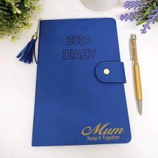 Personalised 2021 Mum Diary A5 WTV - Blue Tassle