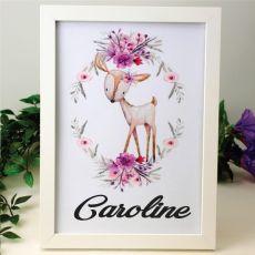 Personalised Framed Nursery Print - Deer
