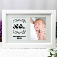 Baby Photo Frame Typography Print 4x6 White