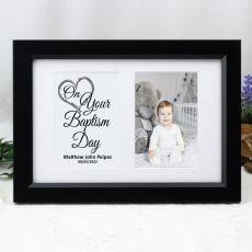 Baptism Photo Frame Typography Print 4x6 Black