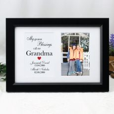 Grandma Blessing Photo Frame Typography Print 4x6 Black