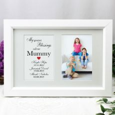 Mum Blessings Photo Frame Typography Print 4x6 White