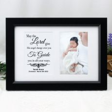 Christening Photo Frame Typography Print 4x6 Black