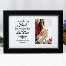 Engagement Photo Frame Typography Print 4x6 Black