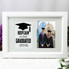 Graduation Photo Frame Typography Print 4x6 White