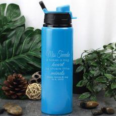 Teacher Engraved Water Drink Bottle Blue Little Minds