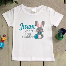 Personalised Easter Shirt - 1-2 Years - Egg Hunter Blue