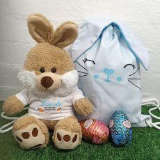 Easter Bunny Plush & Hunt Bag Set Blue