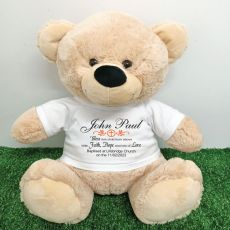 Baptism Personalised T-Shirt Bear 40cm Cream