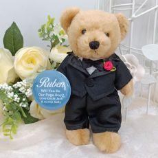 Page Boy Suited Wedding Bear Personalised Badge