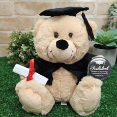 Graduation Bear with Personalised Badge - Cream