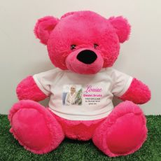 Personalised Memorial Photo Teddy Bear 40cm Hot Pink