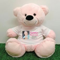 Personalised Memorial Photo Teddy Bear 40cm Light Pink