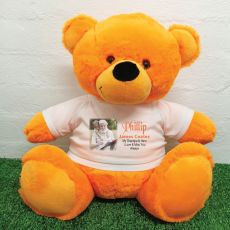 Personalised Memorial Photo Teddy Bear 40cm Orange