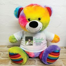 Personalised Memorial Photo Teddy Bear 40cm Rainbow