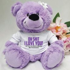 Naughty I Love You Valentines Bear - Lavender