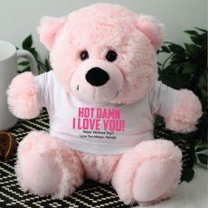 Love You Naughty Valentines Bear - Light Pink