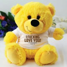Love You Naughty Valentines Bear -  Yellow