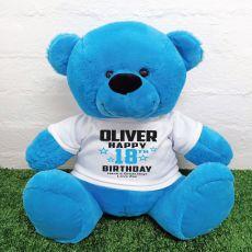 Personalised 18th Birthday Bear Blue 40cm