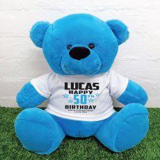 Personalised 50th Birthday Bear Blue 40cm
