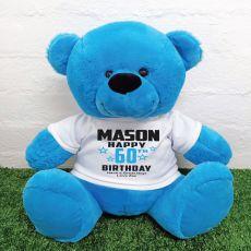 Personalised 60th Birthday Bear Blue 40cm