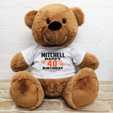 Personalised 40th Birthday Bear Brown 40cm