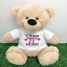 Personalised 21st Birthday Bear Cream 40cm