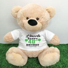 Personalised 40th Birthday Bear Cream 40cm