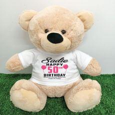 Personalised 50th Birthday Bear Cream 40cm