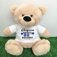 Personalised 80th Birthday Bear Cream 40cm