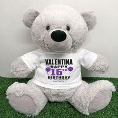 Personalised 16th Birthday Bear Grey 40cm