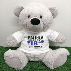 Personalised 18th Birthday Bear Grey 40cm