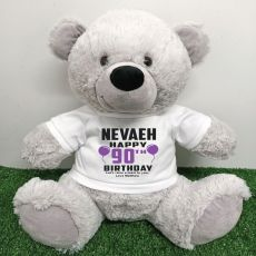 Personalised 90th Birthday Bear Grey 40cm