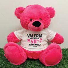 Personalised 50th Birthday Bear Pink 40cm