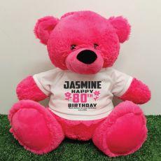 Personalised 80th Birthday Bear Pink 40cm