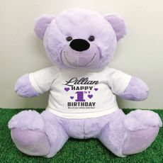 Personalised 1st Birthday Bear Lavender Plush 40cm