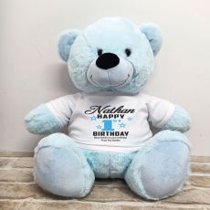 Personalised 1st Birthday Bear Light Blue 40cm