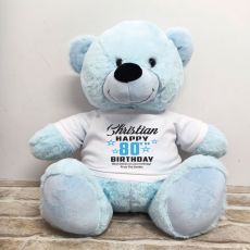 Personalised 80th Birthday Bear Light Blue 40cm
