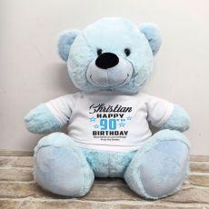 Personalised 90th Birthday Bear Light Blue 40cm