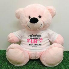 Personalised 18th Birthday Bear Light Pink 40cm