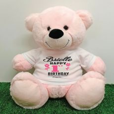 Personalised 1st Birthday Bear Light Pink 40cm