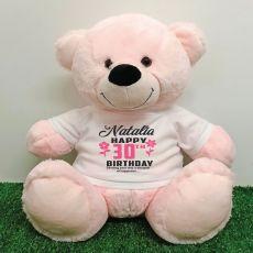 Personalised 30th Birthday Bear Light Pink 40cm